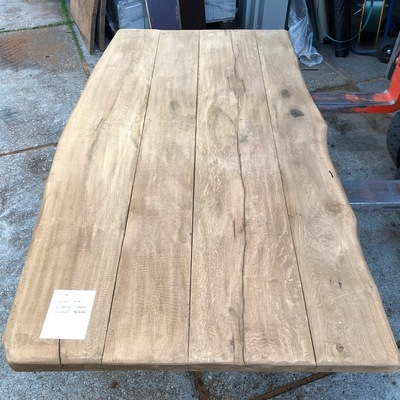 Eiken tree trunk table 2.00 m1 5 cm thick e105 2